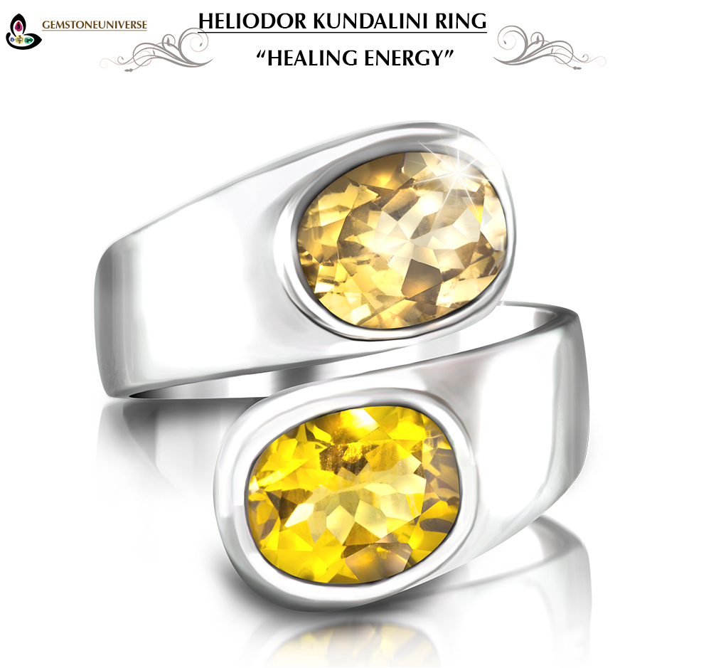 Two Stone Golden Beryl Heliodor Jupiter Kundalini Ring