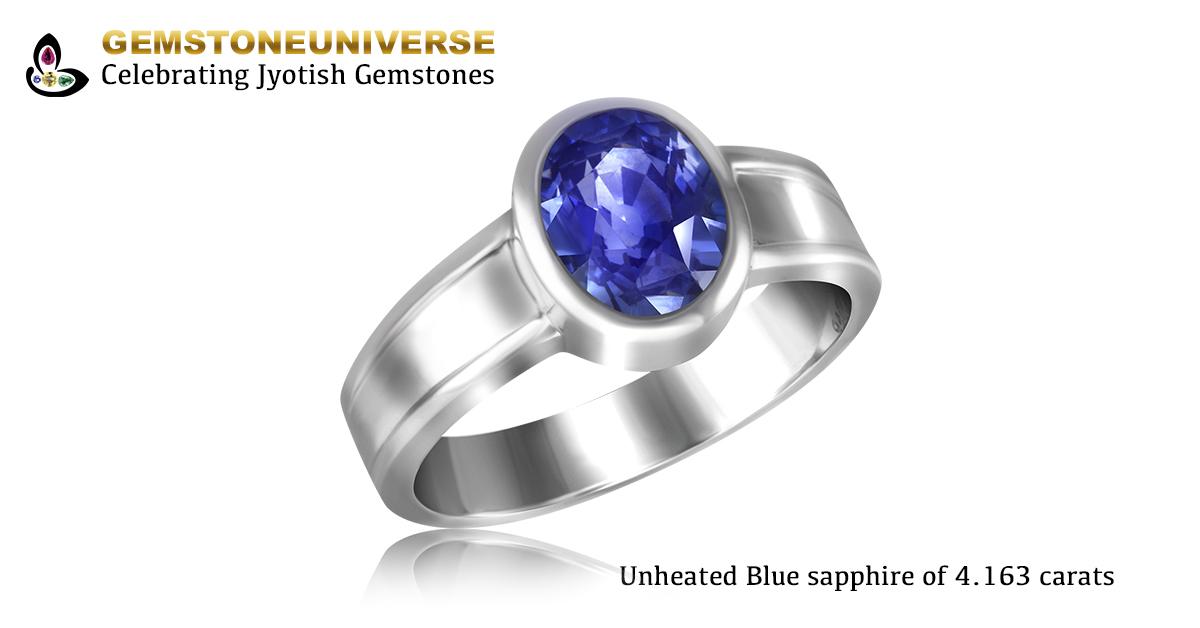 Unheated Ceylon Blue Sapphire Ring