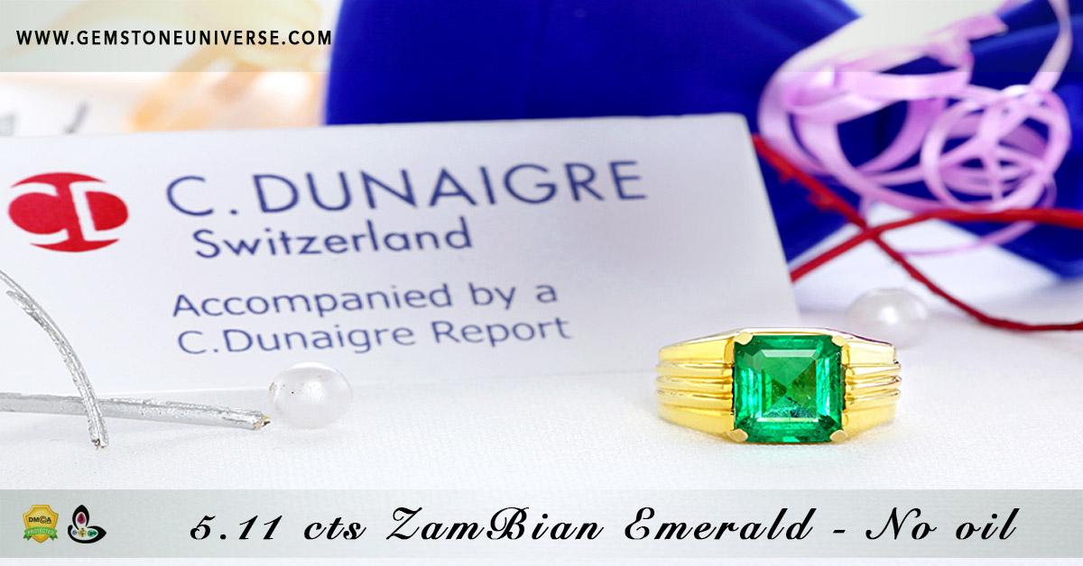 Beautiful Rare Zambian Emerald Jyotish Gemstone Ring