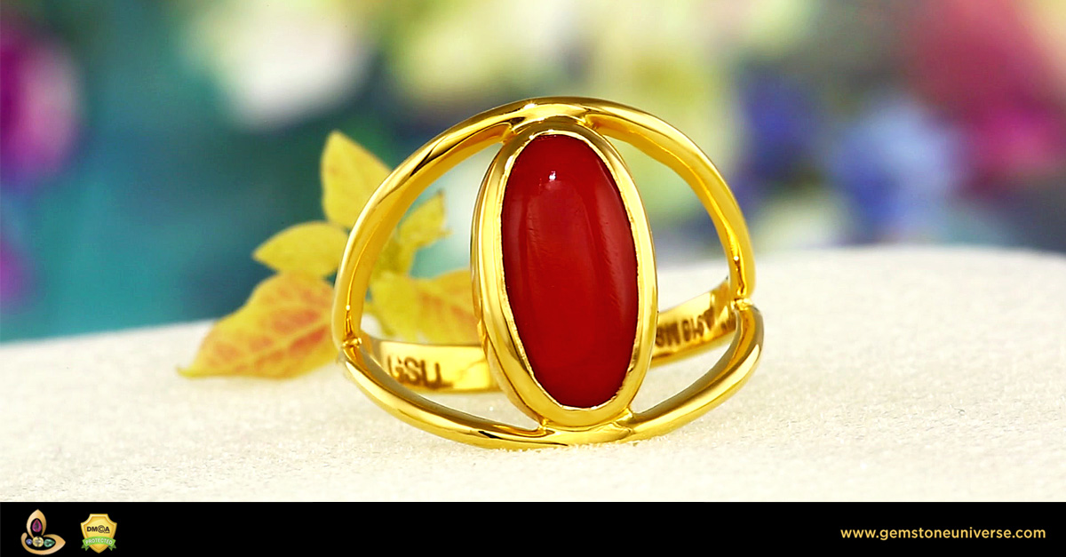 Fine Japanese Red Coral set in Gold ring from Gemstoneuniverse