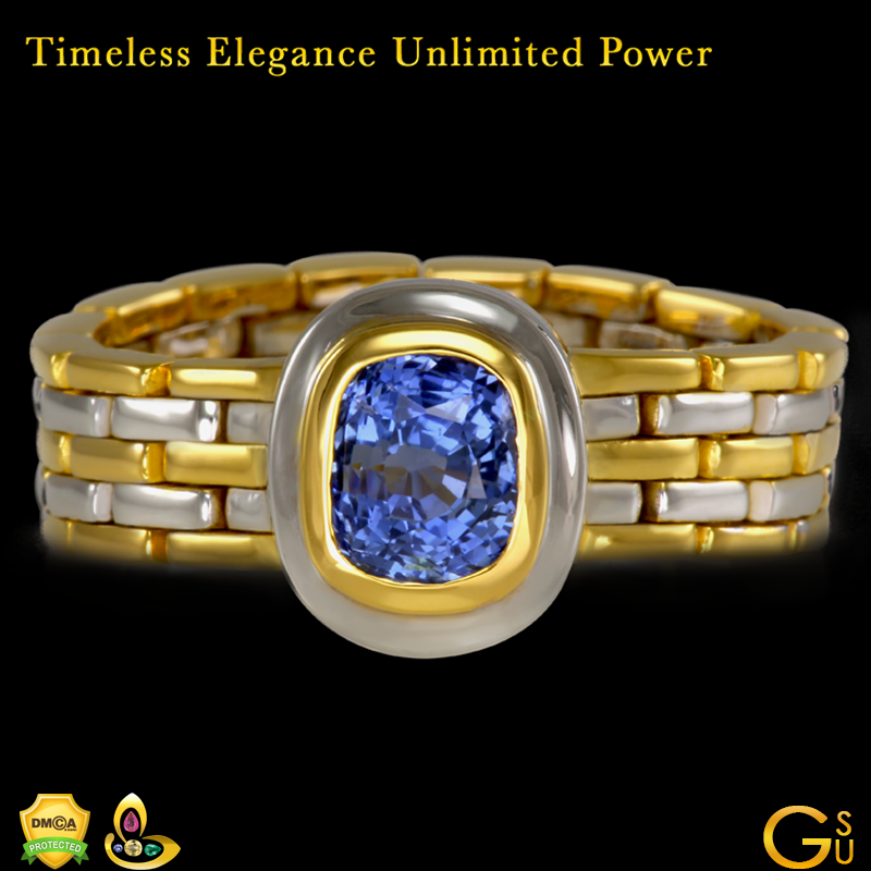 Exceptional Blue Sapphire Jyotish Gemstone Ring