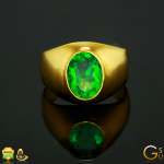Fine Colombian Emerald set in 22 K Gold ring from the Gemstoneuniverse collection of Fine Gemstones