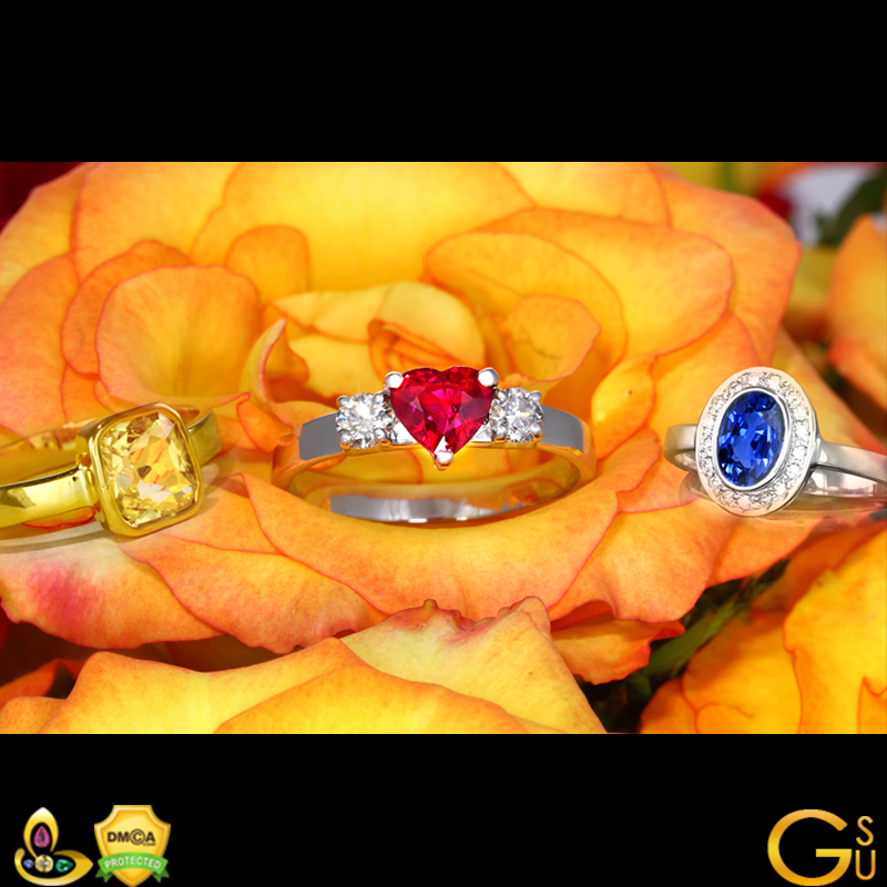 A fine Ruby, Blue Sapphire and Yellow Sapphire from the Gemstoneuniverse collection of fine Jyotish Gemstones