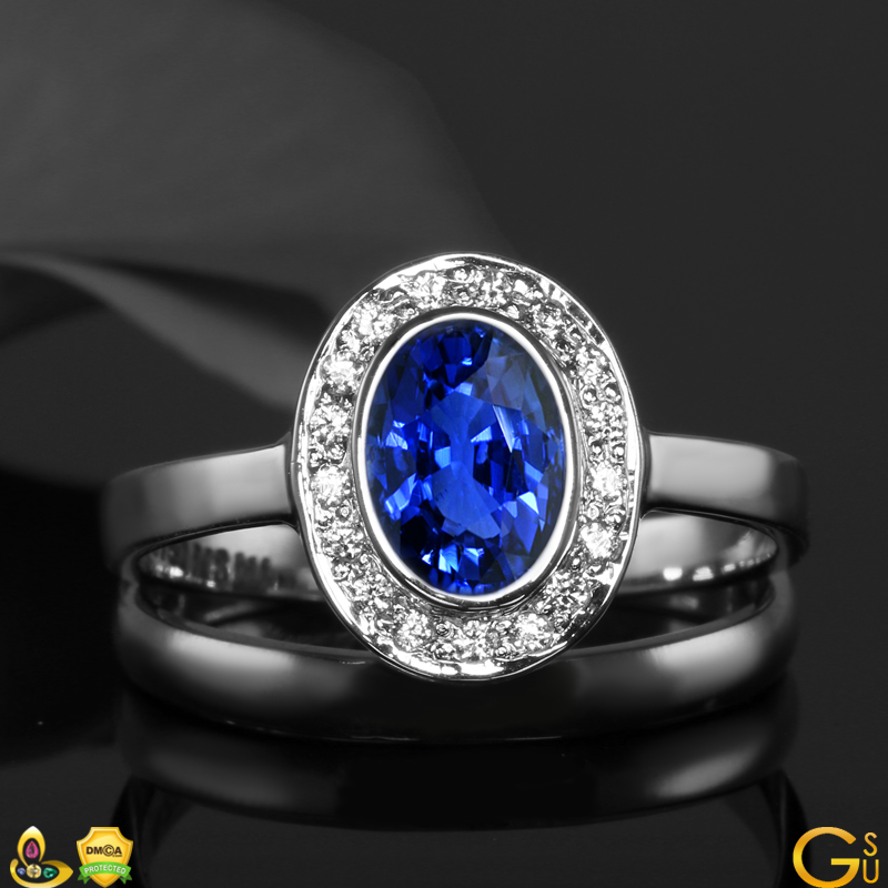 Fine Blue Sapphire and Diamond ring from the Gemstoneuniverse Collection of exquisite Gemstones