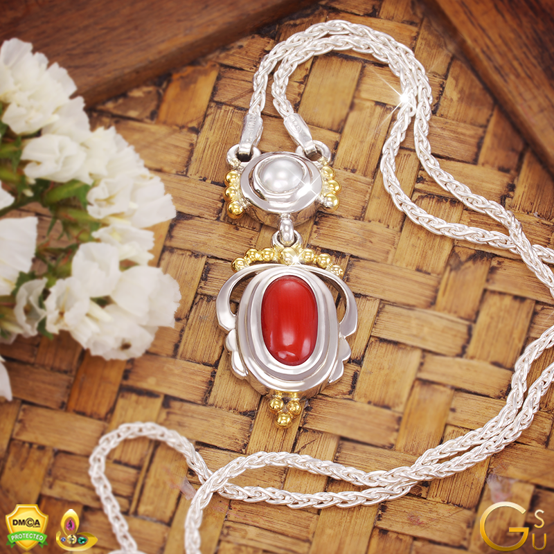 Fine Jyotish Pendant with a flawless Pearl and Red Coral from the Gemstoneuniverse collection of fine Gemstones