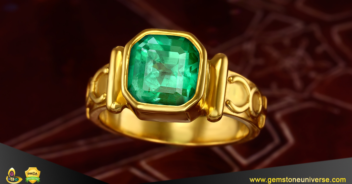 Exceptionally Clean Colombian Emerald set in Mercury Talismanic Ring from the Gemstoneuniverse collection of fine Jyotish Gemstones