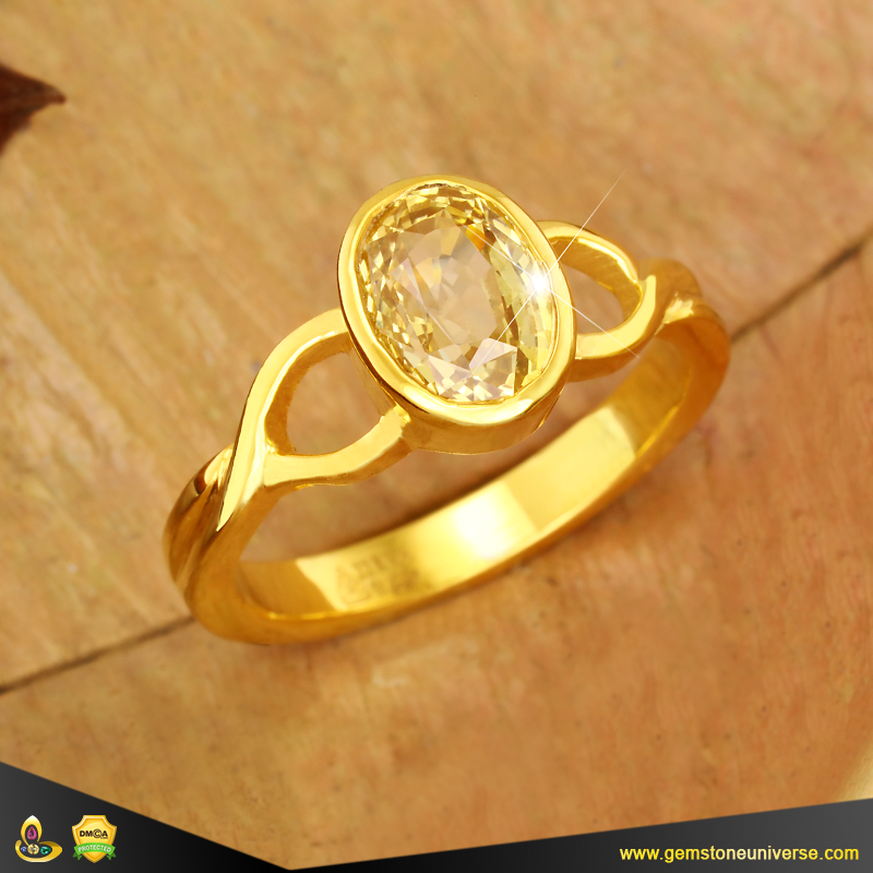 Flawless Yellow Sapphire Jyotish Gemstone Ring