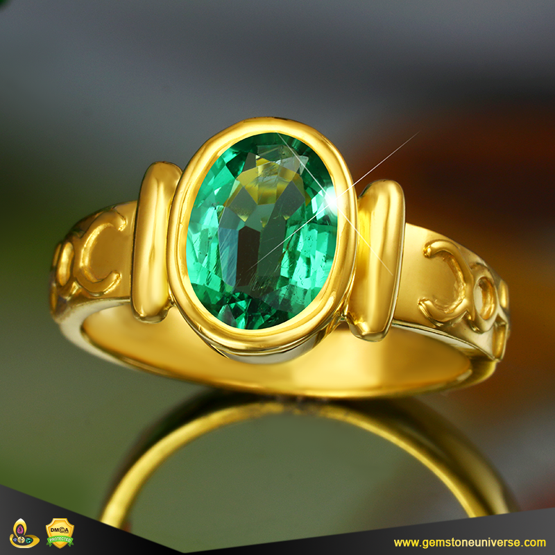 Vedic Emerald Mercury Talismanic Ring with Sacred Apamarga Ash