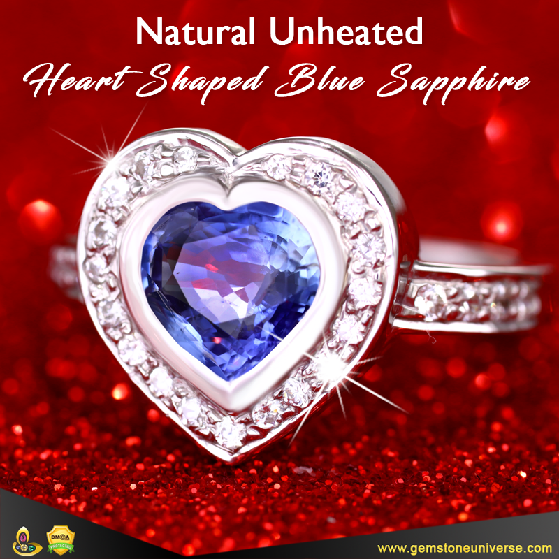 Premium Unheated Heart Shaped Blue Sapphire from the Gemstoneuniverse collection
