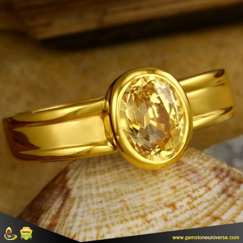 Eye Clean Unheated Ceylon Yellow Sapphire Ring from Gemstoneuniverse