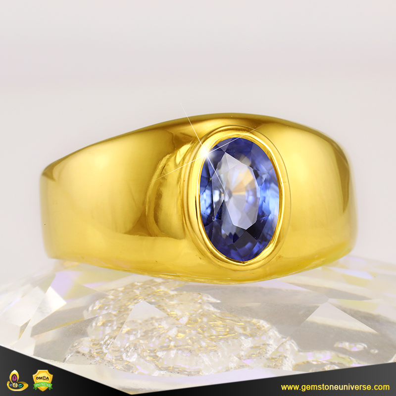 Fine Jyotish Blue Sapphire set in 22K Gold Ring from the Gemstoneuniverse collection