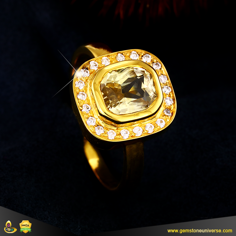 Unheated Yellow Sapphire of 4.060 carats set in 22K Jyotish Ring from Gemstoneuniverse
