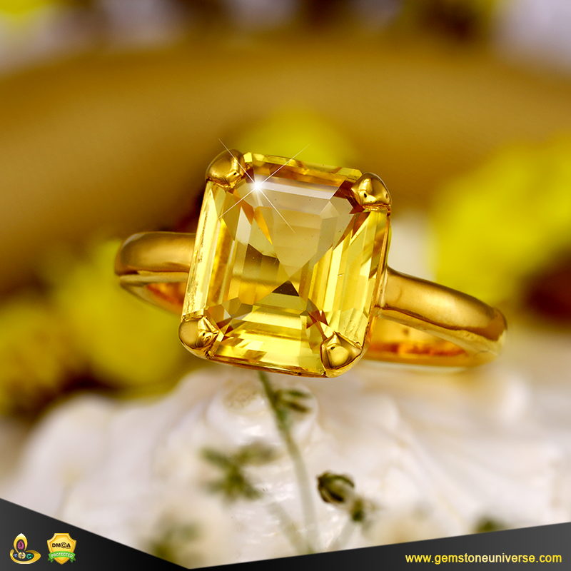 Fine Eye Clean Yellow Sapphire Ring Jyotish Gemstone Gemstoneuniverse