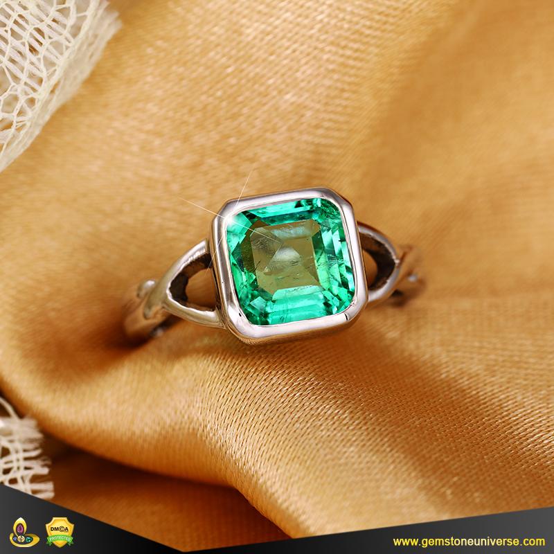 Fine Colombian Emerald Jyotish Gemstone Ring