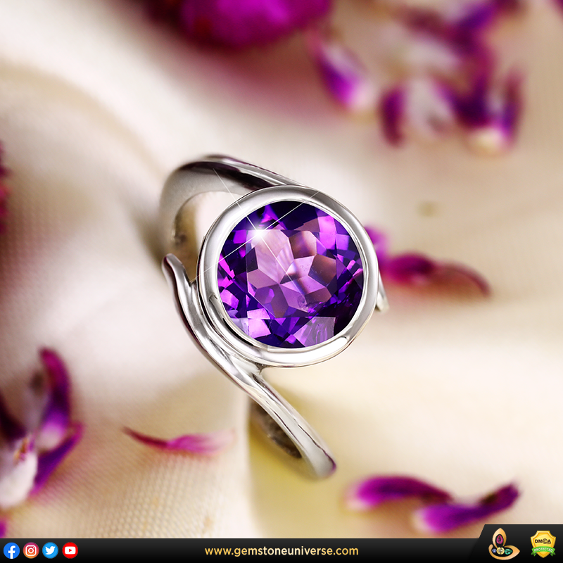 Pristine Jyotish Gemstone Amethyst ring from the Gemstoneuniverse collection