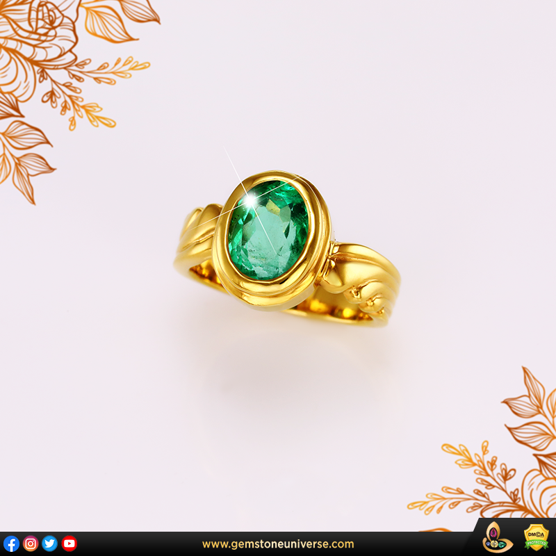 Vivid Green Colombian Emerald set in 22 K Gold Ring from the Gemstoneuniverse collection