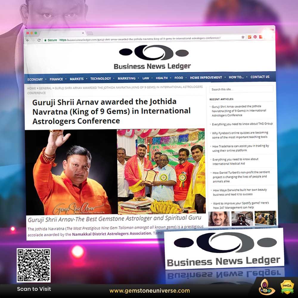 Business News Ledger covers Guruji Shrii Arnav receiving The Jothida Navratna (King of 9 Gems) in International Astrologers Conference