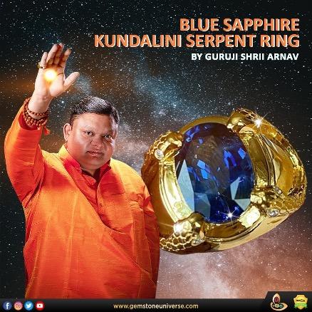 Guruji Shrii Arnav's new creation: Blue Sapphire Kundalini Serpent Ring