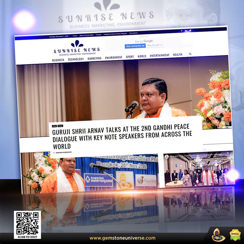 Sunrise News covers Guruji Shrii Arnav talks at 2nd Gandhi Peace Dialogue with Speakers from across the World