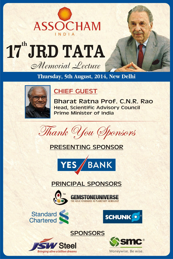 Gemstoneuniverse Reviews-To Sponsor 17th JRD Tata Memorial Lecture & Honor Bharat Ratna Prof. CNR Rao