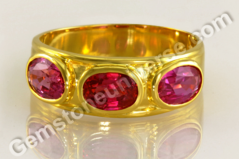 Smart Gem Therapy 3 stone engagement Ruby Ring for Sun in Indian Astrology
