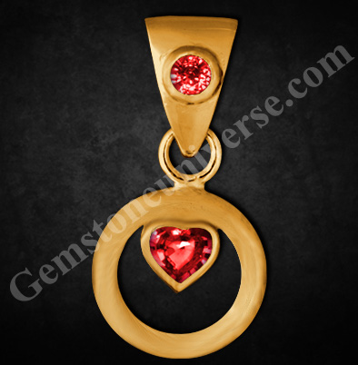 Amor del sol - The Love of the Sun Heart Shaped, Burma Ruby Pendant