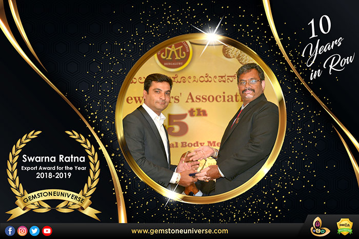 Best Gemstone Company-Gemstoneuniverse Wins Top Exporter Award for 10 Straight Years