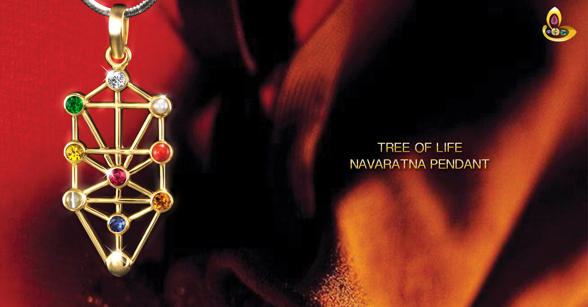 Tree of Life – Exotic Kabbalah Navratna Gemstone Pendant- Blossom and Ascend