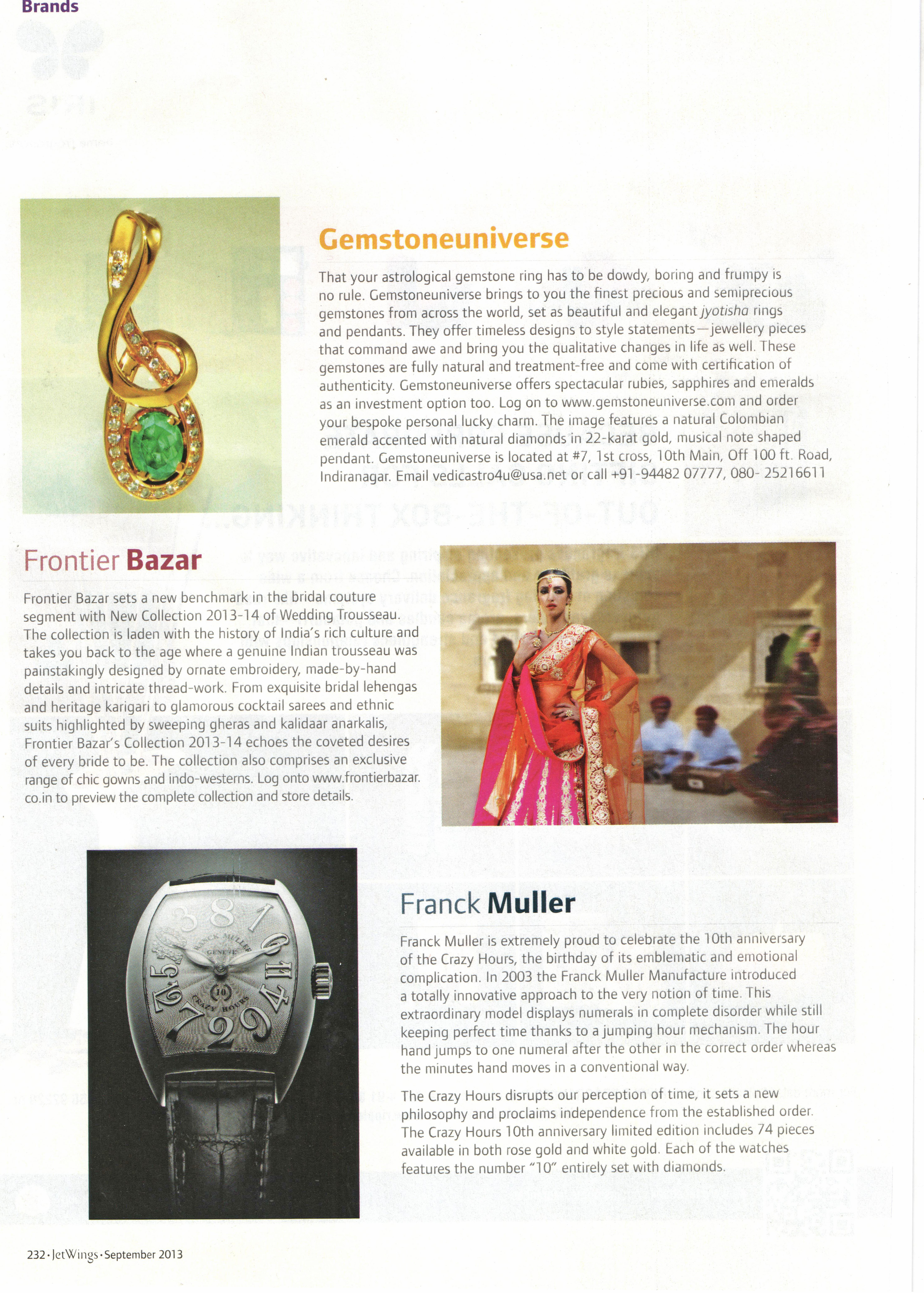 Premium Planetary Gemstone Brand featured in Jetwings Domestic September  2013
