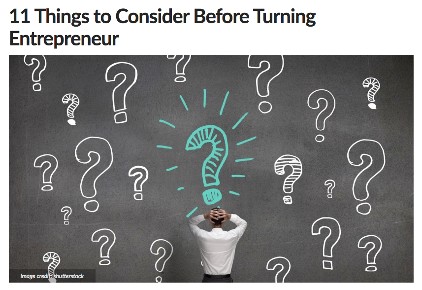 11 Things to Consider Before Turning Entrepreneur
