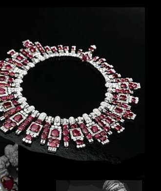 Dazzling Ruby and Diamond Cartier necklace commissioned by the Maharaja Digvijaysinhji of Nawanagar in 1937