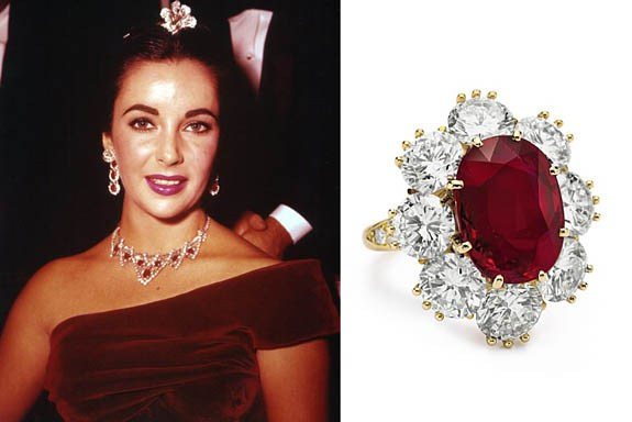 Elizabeth Taylor and her Burmese Ruby and Diamond ring
