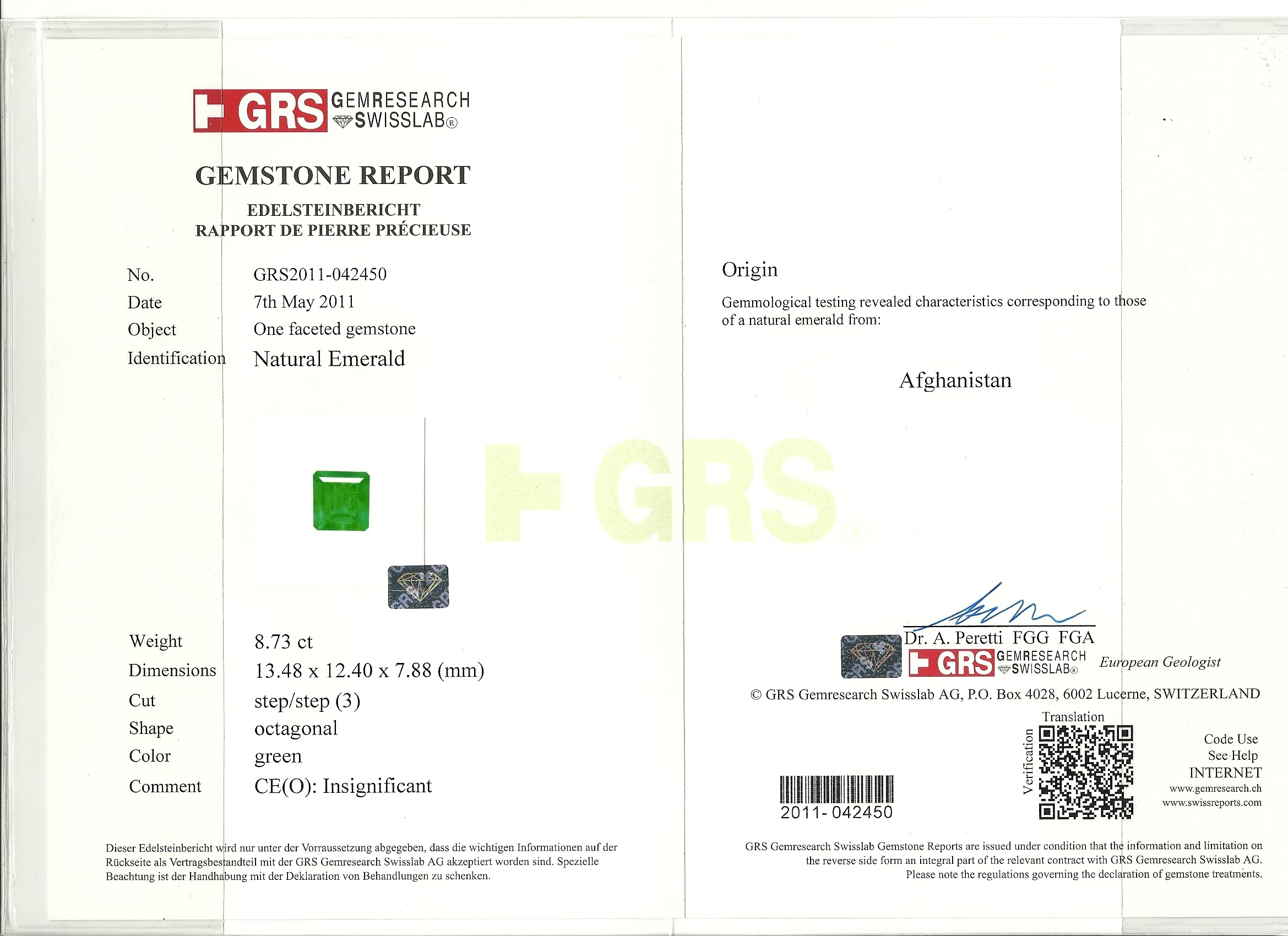 Emerald certificate issued by GRS