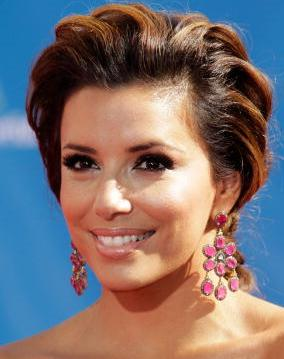 Eva Longoria Sporting Ruby Chandelier Earrings