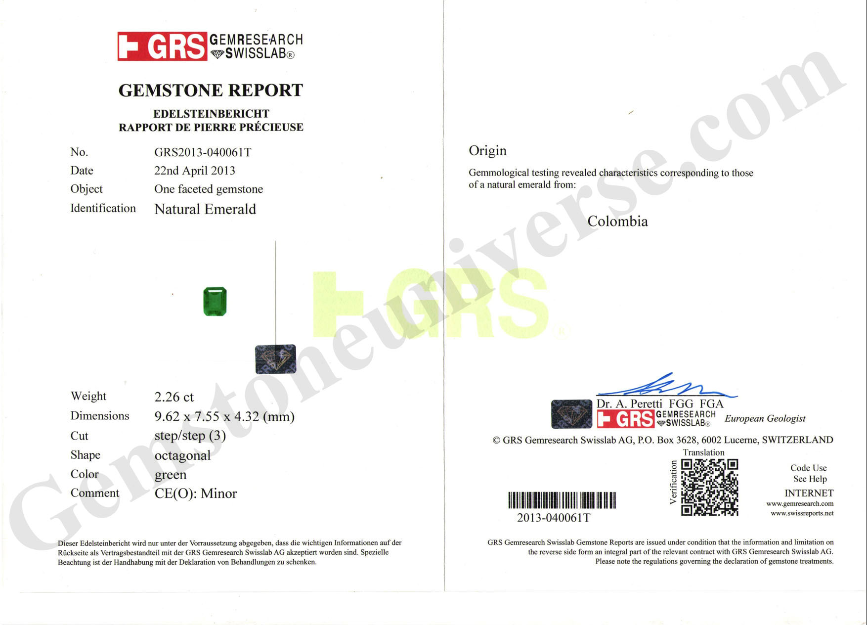 GRS Certificate for the above Emerald