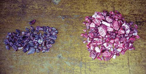 Heat treatment on rubies before and after Image courtesy Palagems
