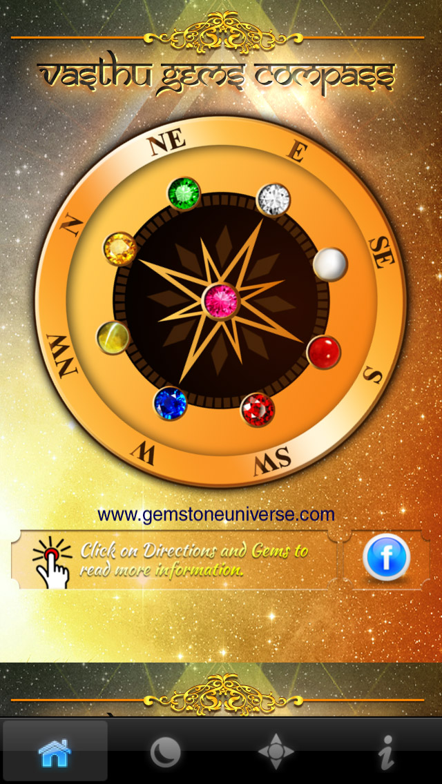 The compass shows the best directions and also has the classical arrangement of the Navratnas
