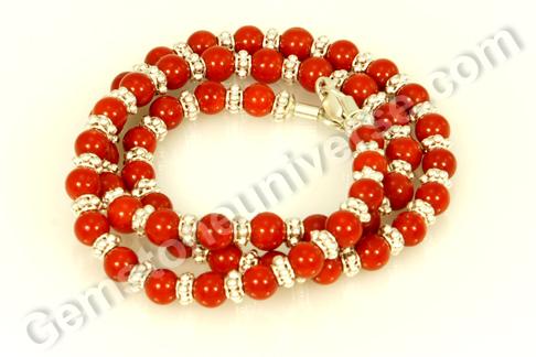 Natural Organic Red Coral bead necklace of 38.6 carats Gemstoneuniverse