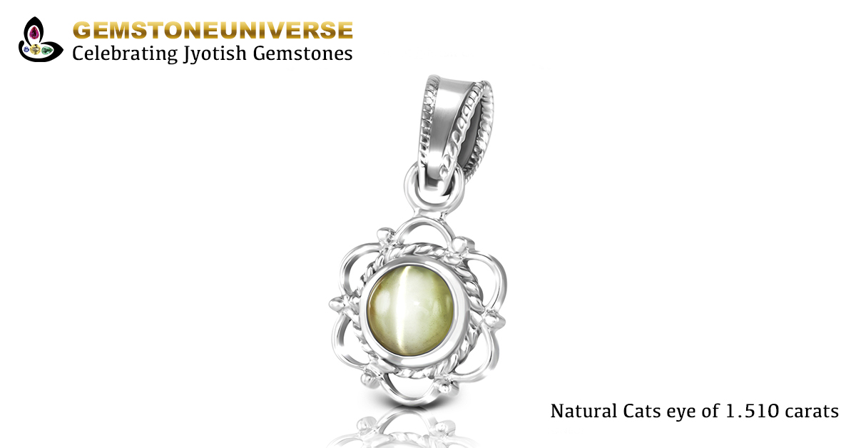 Ceylon Cats Eye set in silver pendant