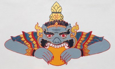 Phra Rahu in Thai art depicted eating up the Sun causing eclipse