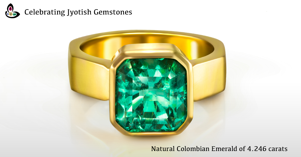 Rare Natural Colombian Emerald of 4.246 carats set in 22K Gold Ring for Mercury as per Astrology