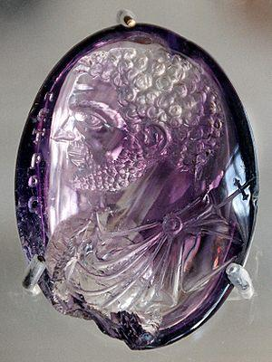 Roman intaglio portrait of Caracalla in amethyst