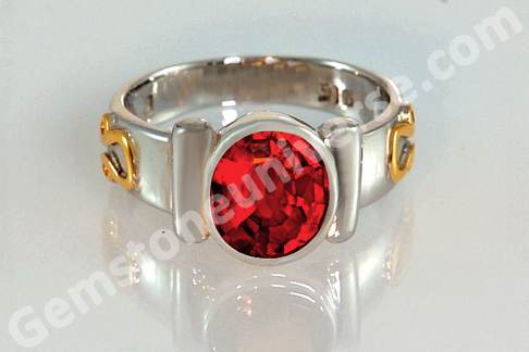 Sacred Herbal Ash Ring for Rahu Hessonite Set with the Durva Herb
