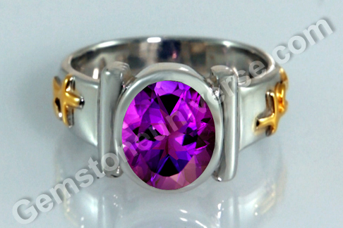 Sacred Herbal Ash ring for Saturn Blue Sapphire or Amethyst set with Khejri Bhasma