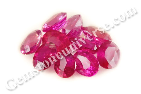 Vivid Reddish Pink unheated Rubies fom Mozambique lot Helios