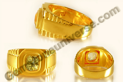 Yellow Sapphire Gold Ring different angles