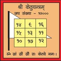 The Sacred Yantra of Lord Ketu is a dhwaja Yantra/Flag Shaped Yantra which is the flag of victory, of truth, of courage and honesty