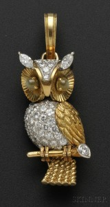 Diamond and Cats eye Chrysoberyl Owl Pendant Brooch Cartier Skinner