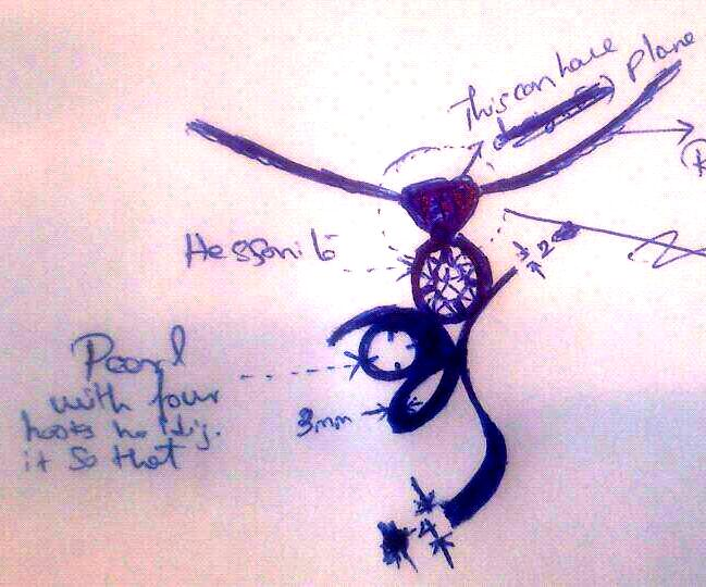 The sketch of the Talisman made by Consultant and The client for approval of the Bench Jeweler