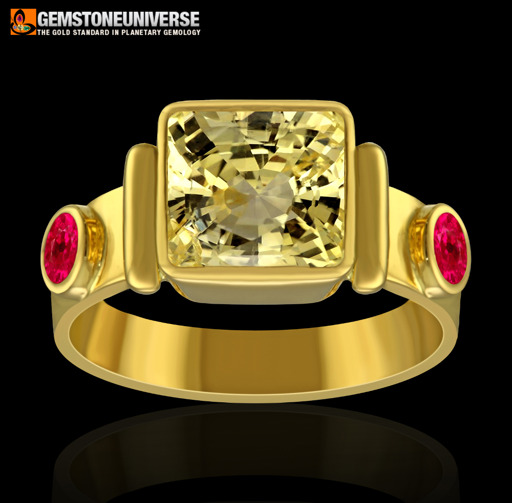 Yellow sapphire and ruby ring